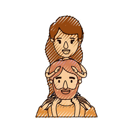 color crayon stripe caricature half body bearded father with girl on his back vector illustration