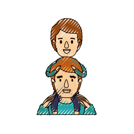 color crayon stripe caricature half body young father with boy on his back vector illustration