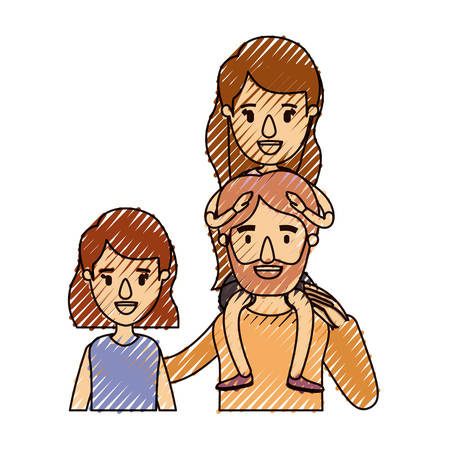 happy couple: color crayon stripe caricature half body family with short hair woman and bearded man with girl on his back vector illustration