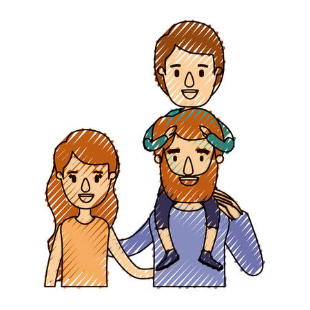 color crayon stripe caricature half body family with wavy long hair woman and bearded man with boy on his back vector illustration