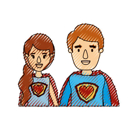 color crayon stripe caricature half body young couple female and male super hero with heart symbol in uniform vector illustration