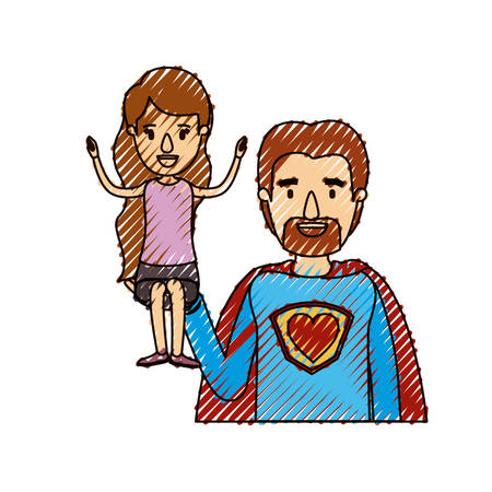 color crayon stripe caricature half body super dad hero with girl on his hand vector illustration