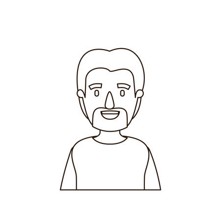 sketch contour half body man with moustache and beard vector illustration