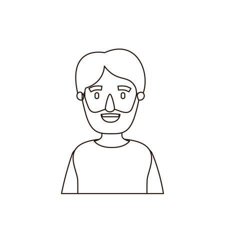 sketch contour half body man bearded vector illustration