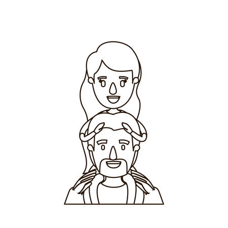 happy couple: sketch contour caricature half body bearded father with moustache and girl on his back vector illustration