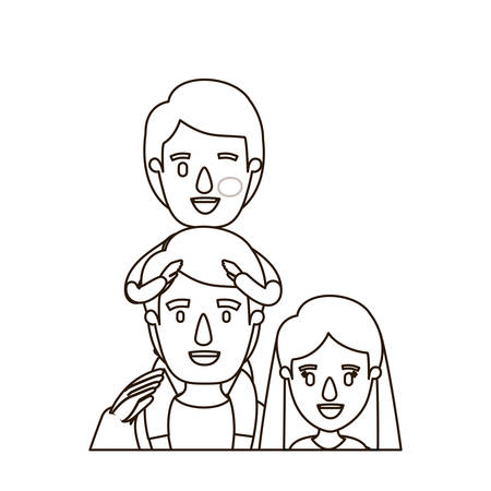happy couple: sketch contour caricature half body family mother and father with boy on his back vector illustration