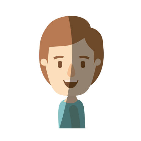 light color shading caricature side view half body boy with hairstyle vector illustration