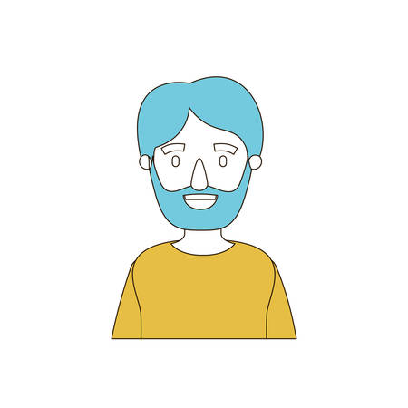 caricature color sections and blue hair of half body man bearded vector illustration
