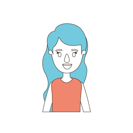 long nose: caricature color sections and blue hair of half body woman with long wavy hairstyle vector illustration Illustration