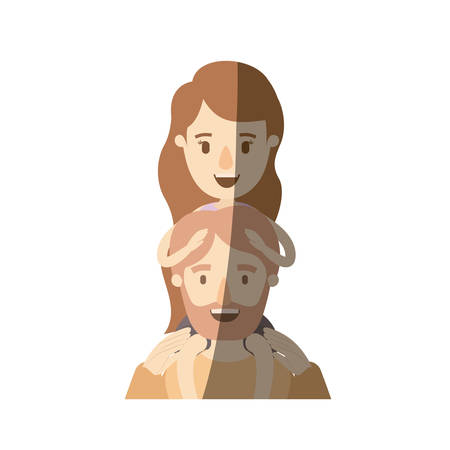 light color shading caricature half body bearded father with girl on his back vector illustration