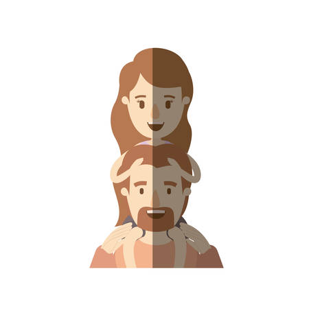 light color shading caricature half body bearded father with moustache and girl on his back vector illustration Illustration