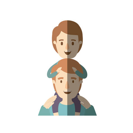 light color shading caricature half body young father with boy on his back vector illustration Illustration