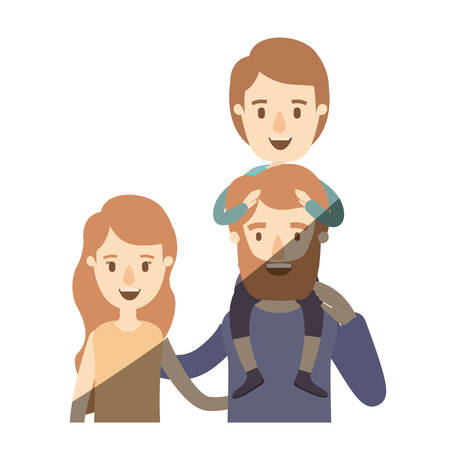 light color shading caricature half body family with wavy long hair woman and bearded man with boy on his back vector illustration Illustration