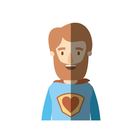 light color shading caricature half body super hero man with beard and moustache vector illustration