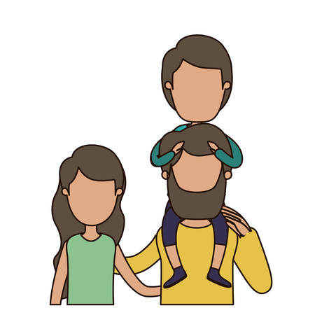 happy couple: colorful caricature faceless front view half body family with wavy long hair woman and bearded man with boy on his back vector illustration