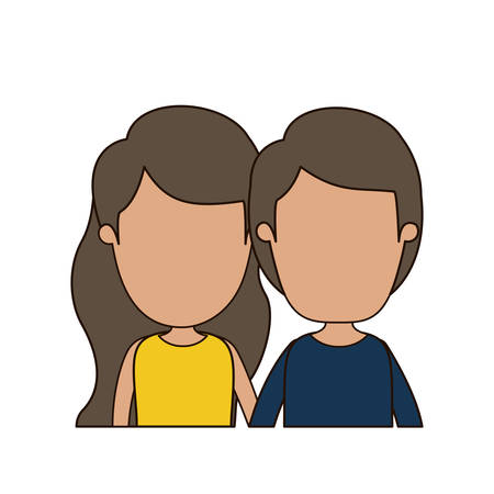 colorful caricature faceless front view half body couple children vector illustration