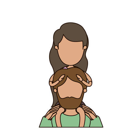 colorful caricature faceless half body bearded father with girl on his back vector illustration Illustration