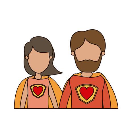 Kleurrijke karikatuur gezichtsloze halve lichaam paar ouders super held met hartsymbool in uniforme vectorillustratie Stockfoto - 78799679