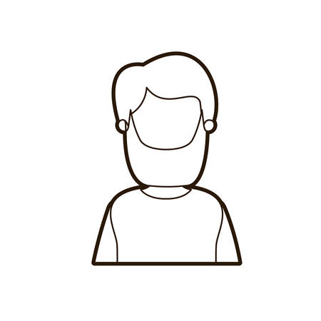 black thick contour caricature faceless half body bearded man vector illustration Illustration