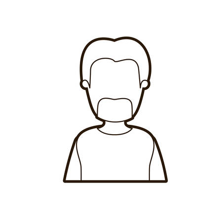 black thick contour caricature faceless half body bearded man with coat vector illustration Illustration