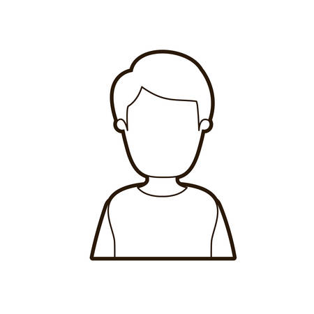 black thick contour caricature faceless half body man with coat and hairstyle vector illustration Illustration