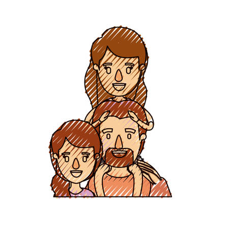 color crayon stripe caricature half body family with mother and father with moustache and girl on his back vector illustration