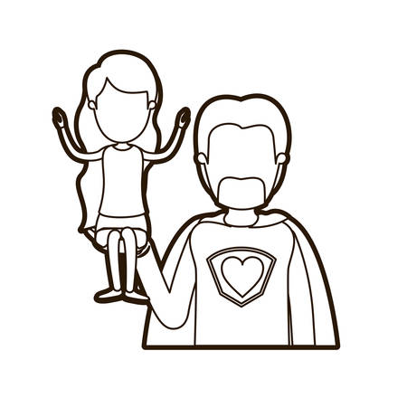black thick contour caricature faceless half body super dad hero with girl on his hand vector illustration