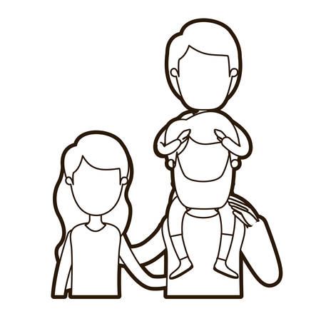 black thick contour caricature faceless front view half body family with wavy long hair woman and bearded man with boy on his back vector illustration Illustration