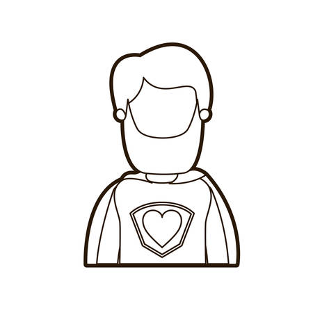 black thick contour caricature faceless half body super hero man with beard and moustache vector illustration