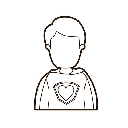 super dad: black thick contour caricature faceless half body super hero young male vector illustration