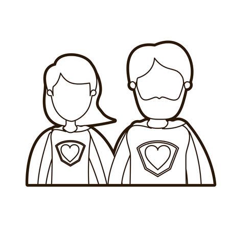 black thick contour caricature faceless half body couple parents super hero with heart symbol in uniform vector illustration Illustration