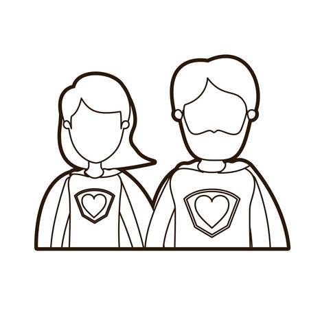 zwarte dikke contour karikatuur gezichtsloze halve lichaam paar ouders super held met hartsymbool in uniforme vectorillustratie Stock Illustratie