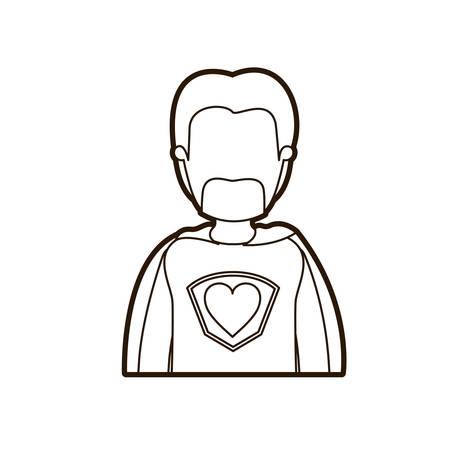 super dad: black thick contour caricature faceless half body super dad hero with beard vector illustration Illustration