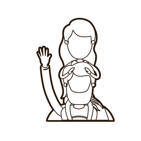 black thick contour caricature faceless half body super dad hero greeting with girl on his back vector illustration Illustration