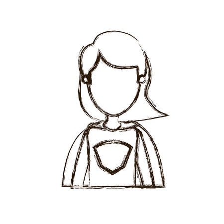 blurred thick silhouette caricature faceless half body super woman with short hair vector illustration