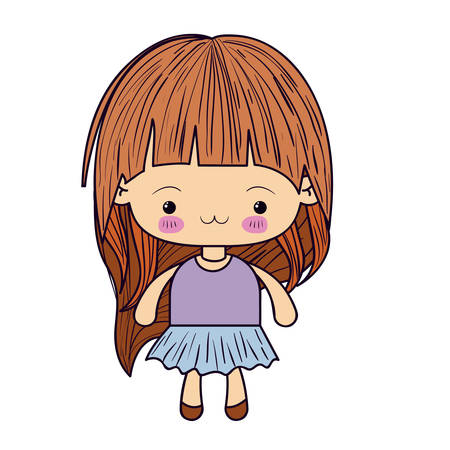 colorful silhouette of kawaii little girl with long hair and facial expression exhausted vector illustration