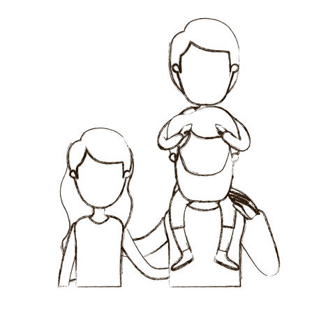 happy couple: blurred thin contour caricature faceless front view half body family with wavy long hair woman and bearded man with boy on his back vector illustration