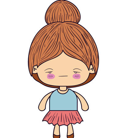 sad little girl: colorful silhouette of kawaii little girl with collected hair and facial expression sad vector illustration