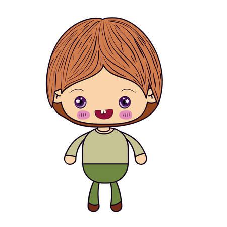 Siluetta variopinta dell'illustrazione sorridente di vettore del ragazzino di kawaii