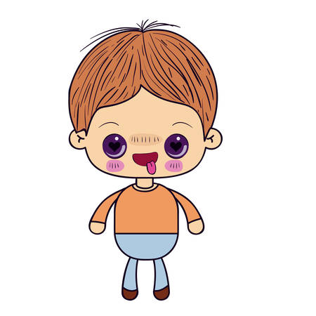 colorful silhouette of kawaii little boy with facial expression in love vector illustration
