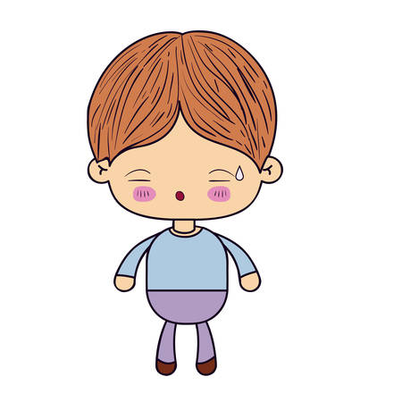 colorful silhouette of kawaii little boy with facial expression of tired vector illustration Illustration