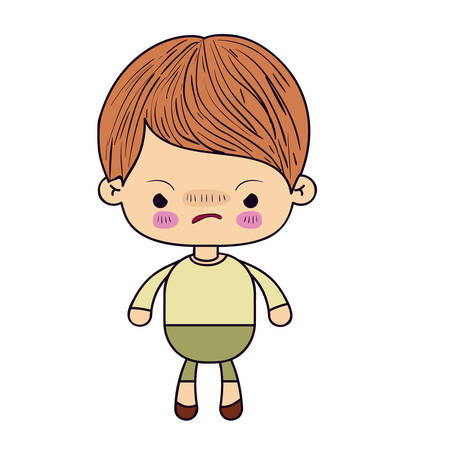 colorful silhouette of kawaii little boy with facial expression angry vector illustration