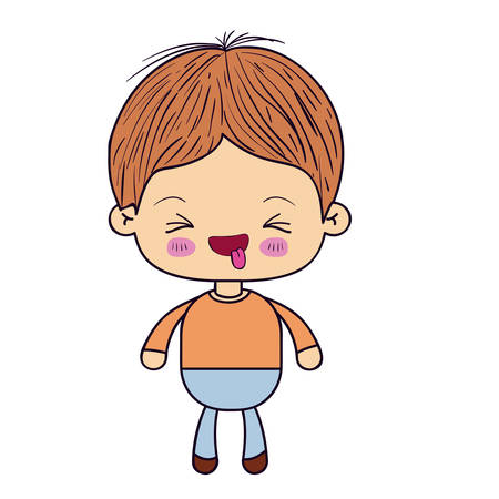 colorful silhouette of little boy with with closed eyes vector illustration Illustration