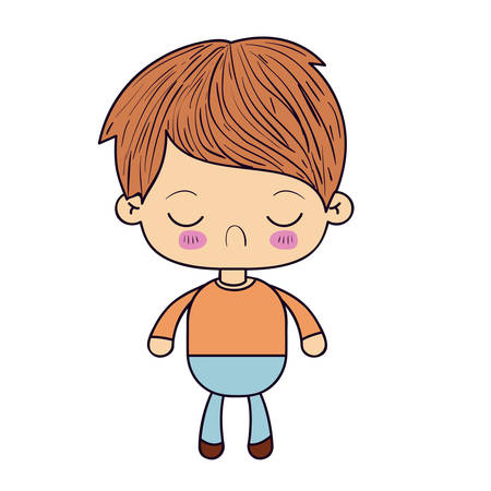 colorful silhouette of kawaii little boy with facial expression disgust with closed eyes vector illustration
