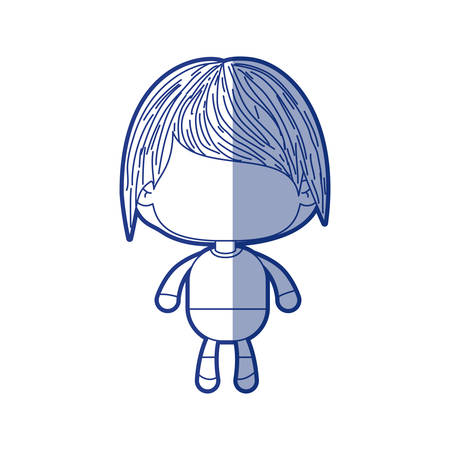 blue shading silhouette of faceless little boy with short wavy hair vector illustration Illustration