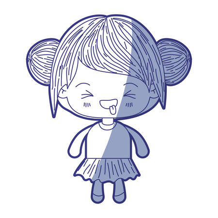 blue shading silhouette of kawaii little girl with collected hair and facial expression unpleasant vector illustration