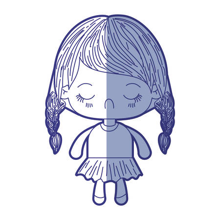 blue shading silhouette of kawaii little girl with braided hair and facial expression disgust vector illustration