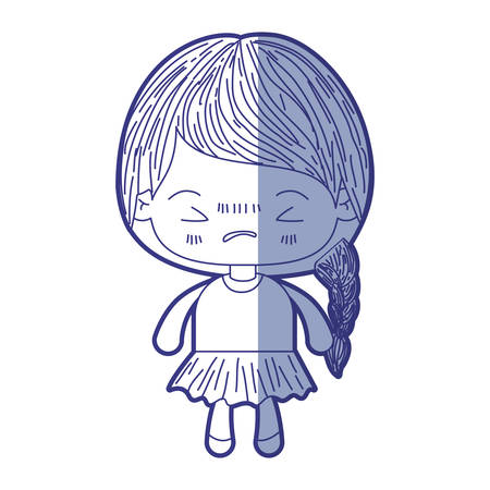 unpleasant: blue shading silhouette of kawaii little girl with braided hair and facial expression angry with closed eyes vector illustration