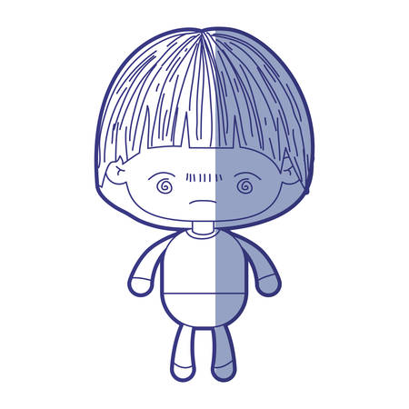 blue shading silhouette of kawaii little boy with facial expression bored vector illustration Illustration