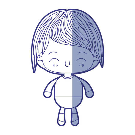 blue shading silhouette of kawaii little boy with happiness facial expression vector illustration Illustration